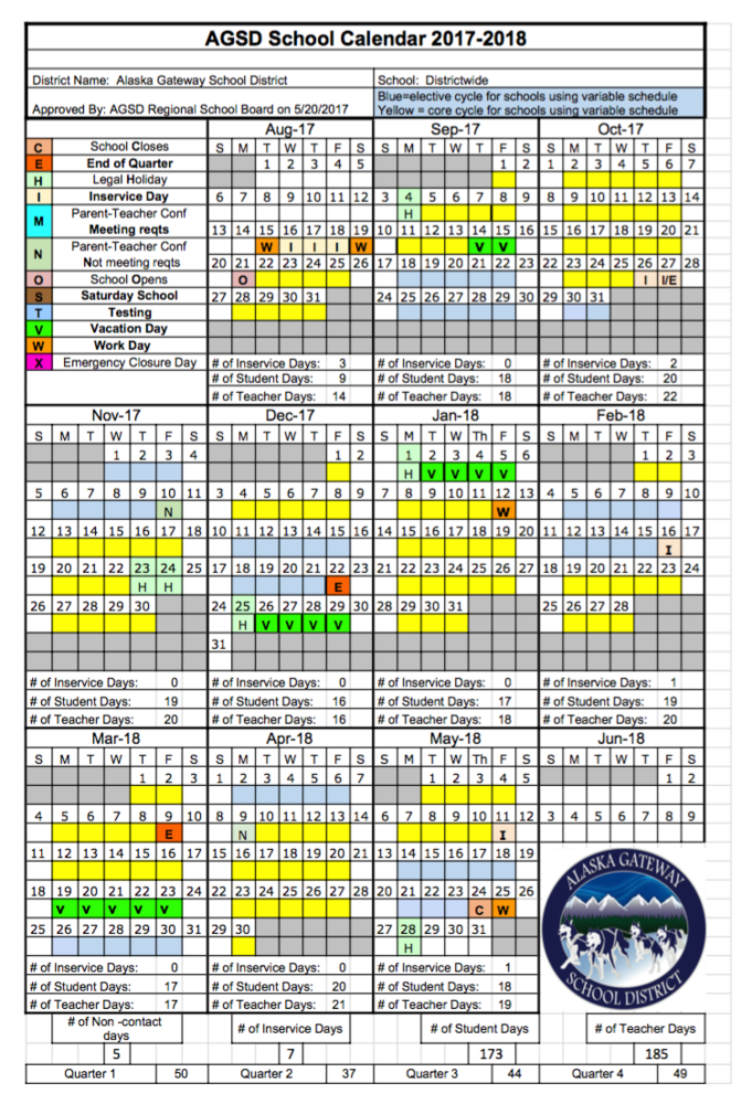 New school calendar for 2017/2018